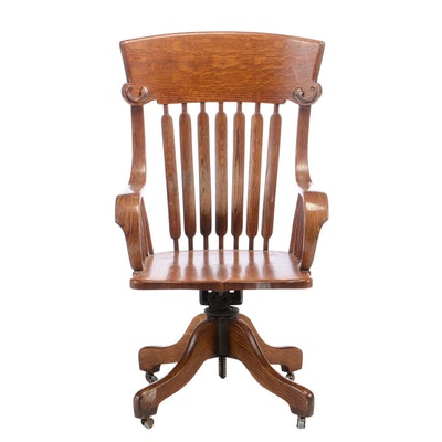 J. S. Ford, Johnson & Co., Oak Office Chair on Adjustable Base, Early 20th C.