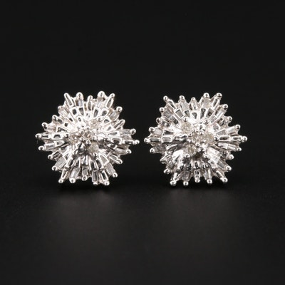 10K White Gold Diamond Starburst Stud Earrings