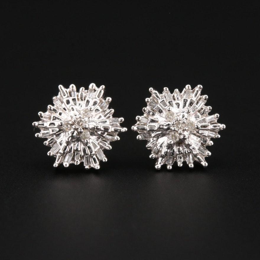 10K White Gold Diamond Starburst Stud Earrings