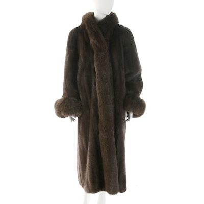 Sable Fur Full-Length Coat with Dyed Fox Fur Trim
