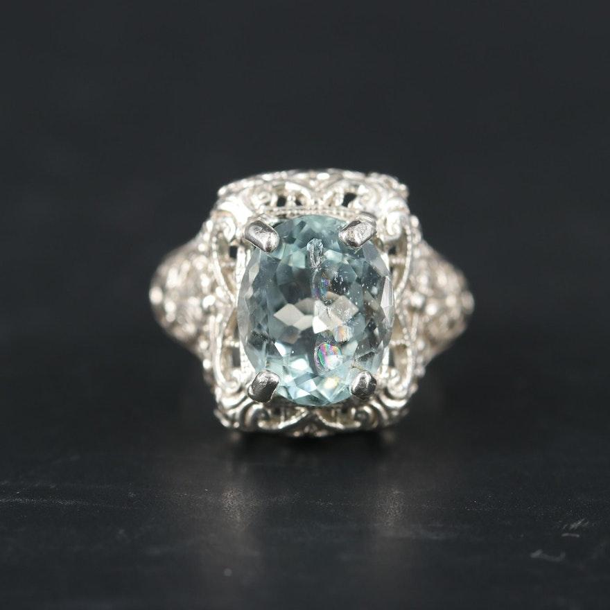Sterling Silver Aquamarine Ring