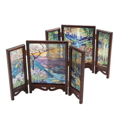 Limited Edition Printed Glass Table Screens after Louis Comfort Tiffany
