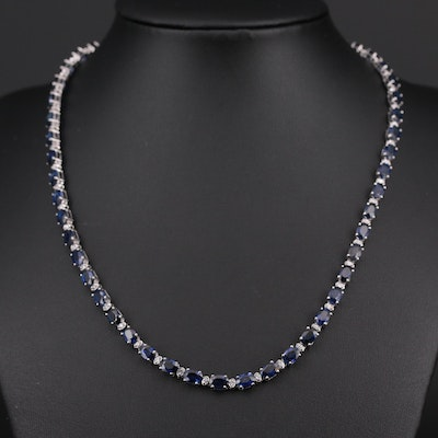 14K White Gold Sapphire and 1.06 CTW Diamond Necklace