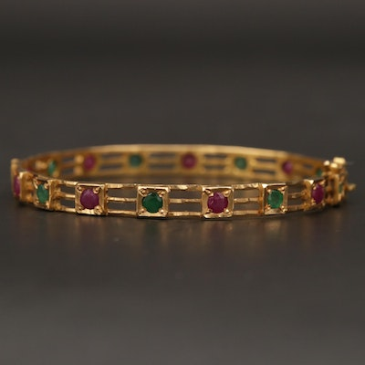 14K Yellow Gold Ruby and Emerald Hinged Bangle Bracelet