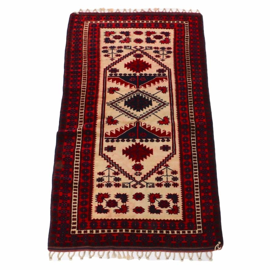 3'8 x 6'6 Hand-Knotted Turkish Village Rug, 1960s