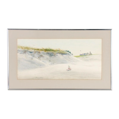 Paul Bradford Watercolor Painting of Beach Scene