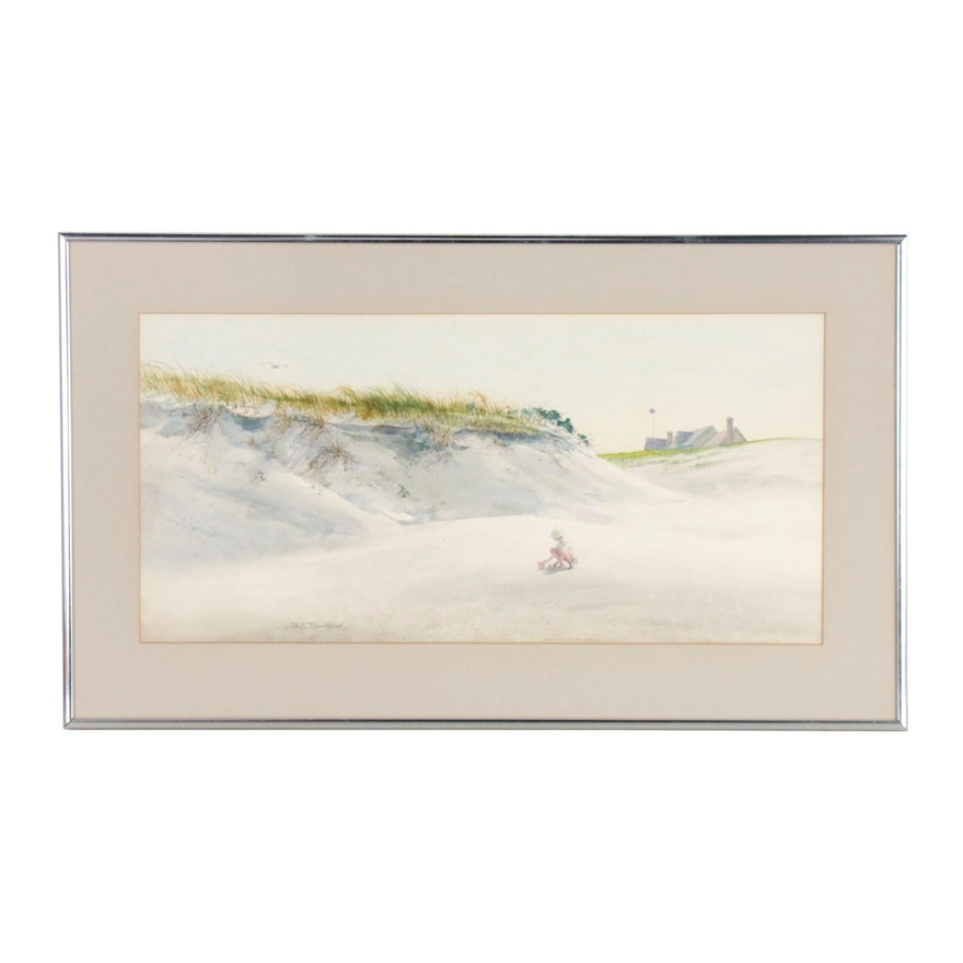 Paul Bradford Watercolor Painting of Beach Scene