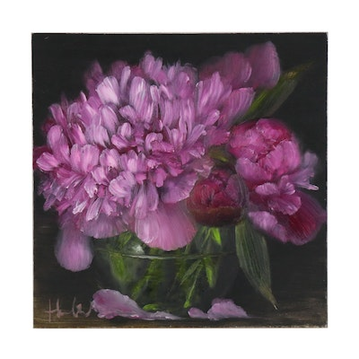 "Thuthuy Tran Oil Painting ""Pink Peonies in a Jar"", 2019"