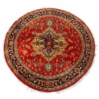 6'3 x 6'3 Hand-Knotted Indo-Persian Heriz Serapi Round Rug, 2000s
