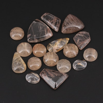Loose 97.65 CTW Rutilated Quartz Gemstones