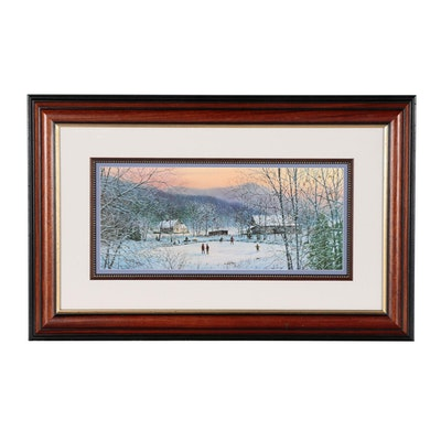 Robert A. Tino Winter Scene Offset Lithograph
