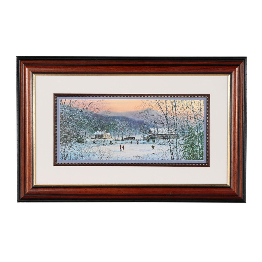 Robert A. Tino Winter Scene Offset Lithograph