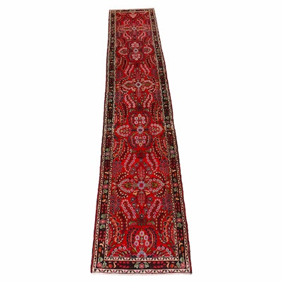 2'9 x 14'2 Hand-Knotted Persian Lilihan Carpet Runner, 1970s