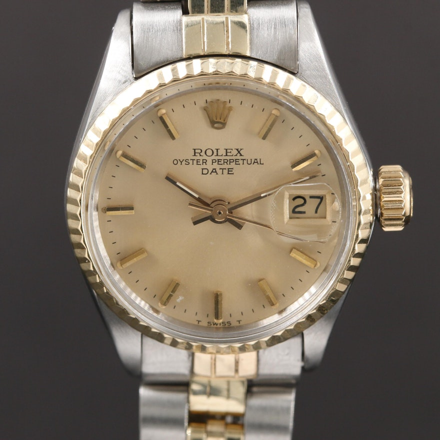 Rolex Date 6517 14K Gold And Stainless Steel Automatic Wristwatch, Vintage