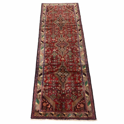 3'6 x 10'4 Hand-Knotted Persian Malayer Runner, 1970s