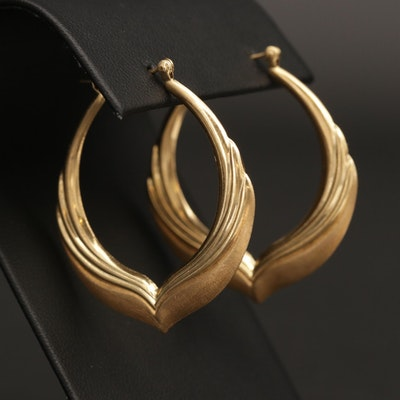 14K Yellow Gold Chevron Hoop Earrings with Satin Finish