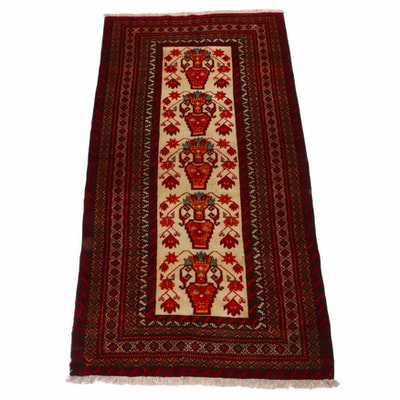 3'10 x 7'3 Hand-Knotted Persian Baluch Vases of Flowers Rug, 1960s
