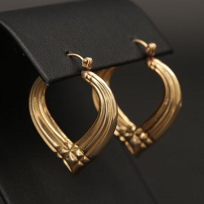 14K Yellow Gold Chevron Hoop Earrings