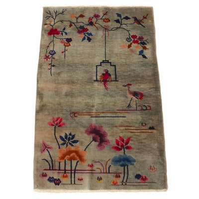 3' x 4'10 Hand-Knotted Art Deco Chinese Pictorial Rug, 1920s