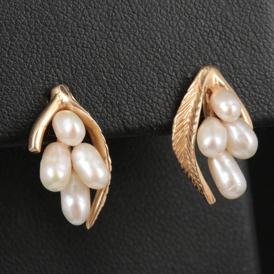 14K Yellow Gold Cultured Pearl Leaf Earrings