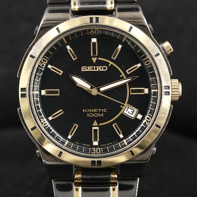Seiko SKA366 Kinetic Black and Gold Tone Stainless Steel Wristwatch
