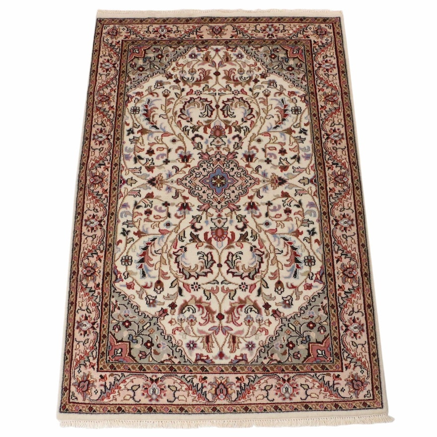 4' x 6'5 Hand-Knotted Indo-Persian Tabriz Rug, 2000s