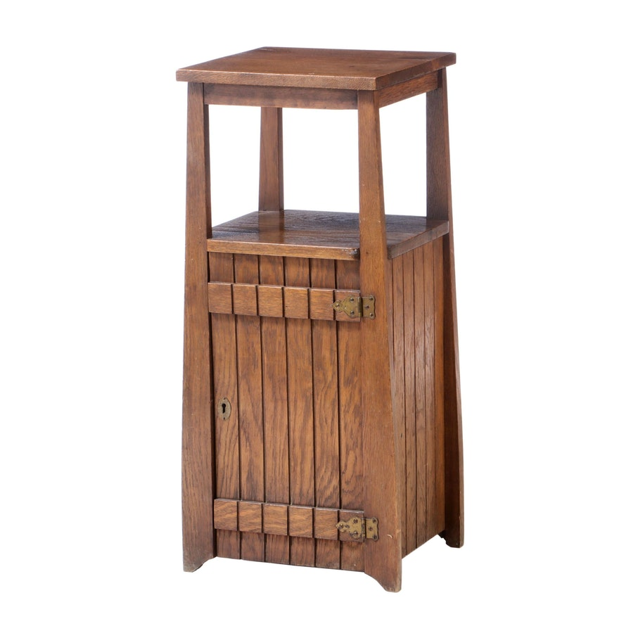 Arts and Crafts Oak Cabinet Stand, Early 20th Century