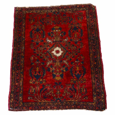 3'7 x 4'3 Hand-Knotted Persian Lilihan Rug, 1920s