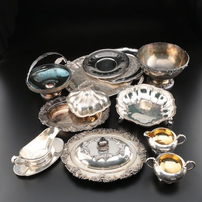 Meriden Silver Plate Serving Bowls and Other Silver Plate Tableware