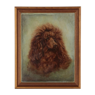 "Oil Portrait of Dog ""Chloe"", Mid 20th Century"