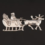 "Gorham American Heritage Society ""Santa in the Sleigh"" Sterling Silver Ornament"