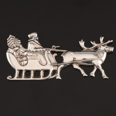 """Gorham American Heritage Society """"Santa in the Sleigh"""" Sterling Silver Ornament"""