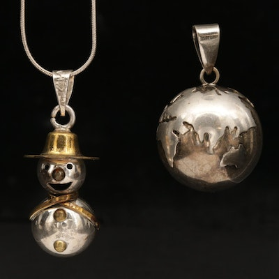 Sterling Silver Snowman Chime Pendant Necklace With Harmony Ball Globe Pendant