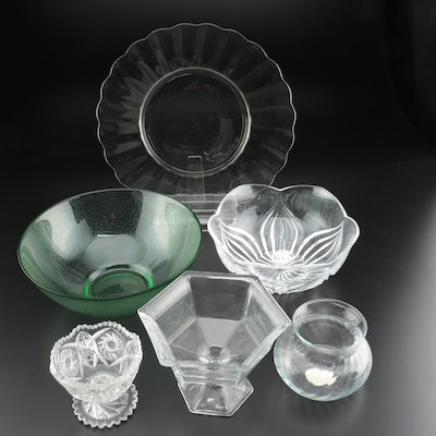 Glass Serving Bowls, Platter, Compote, Candy Dish, and Vase
