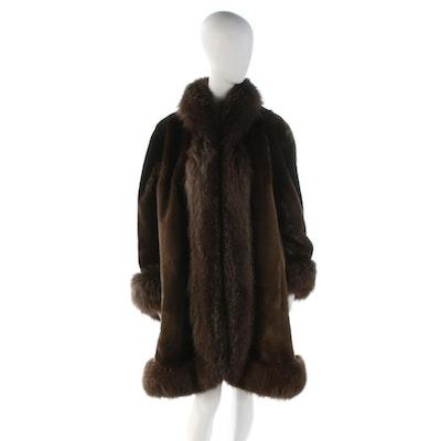 Natural Furs Phantom Sheared Beaver Fur Coat with Fox Fur Trim