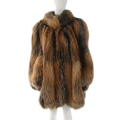 Borello Torino Cross Fox Fur Stroller Coat with Petal Hem