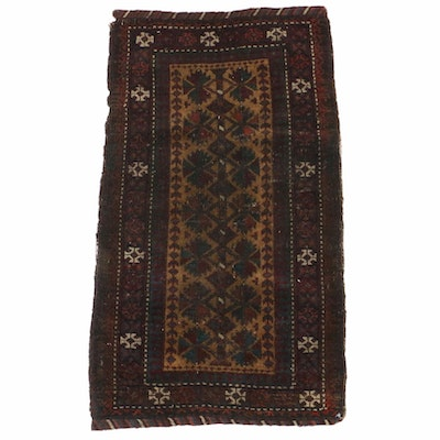 1'8 x 2'10 Hand-Knotted Persian Baluch Rug, 1890s