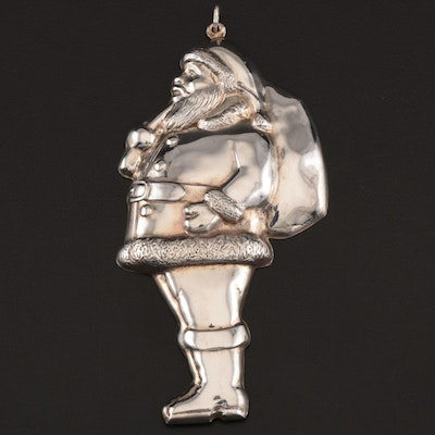 """Gorham """"Santa with His Pack"""" Sterling Silver Ornament, 1972–1987"""