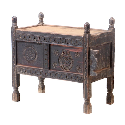 Pakastani Swat Valley Chip-Carved Pine Dowry Chest, Early 20th Century