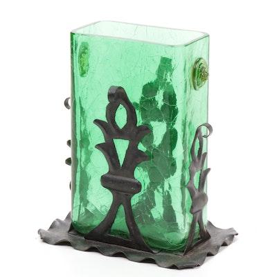 Steuben Pomona Green Art Glass Vase with Metal Base