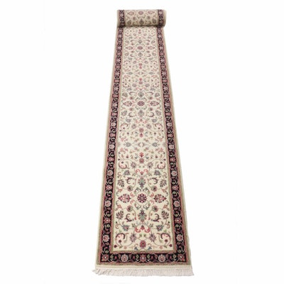 2'7 x 19'10 Hand-Knotted Indo-Persian Tabriz Stairway Runner, 1990s