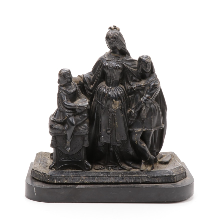 Spelter Sculpture of Elizabethan Style Figures, Late 19th/Early 20th Century
