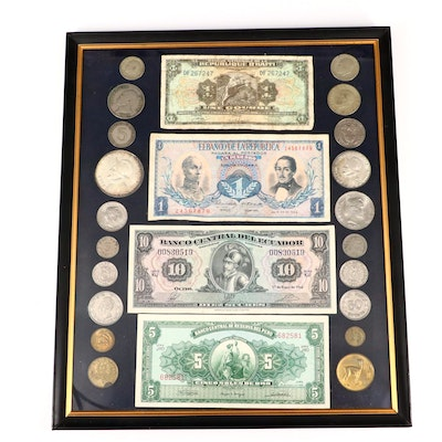 Framed Collection of Foreign Coins and Currency