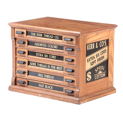Kerr and Company Oak Spool Cabinet, Early 20th Century and Later
