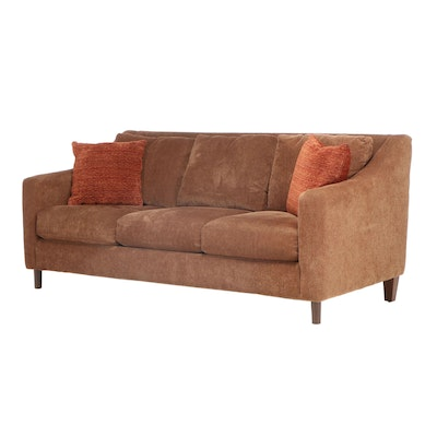Havertys Suede Upholstered Sofa with Accent Pillows, Contemporary