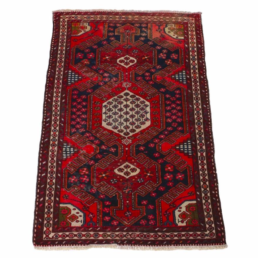 4'4 x 6'8 Hand-Knotted Persian Zanjan Rug, 1920s