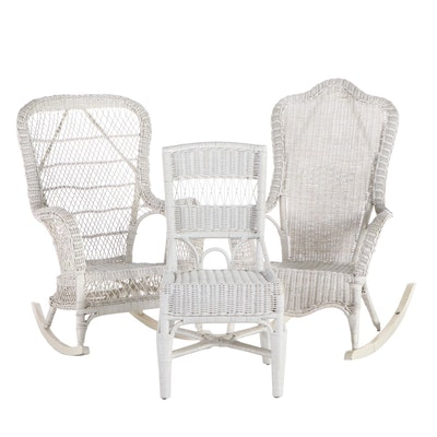 Woven Wicker Rocking Chairs and Side Chair, Late 20th Century