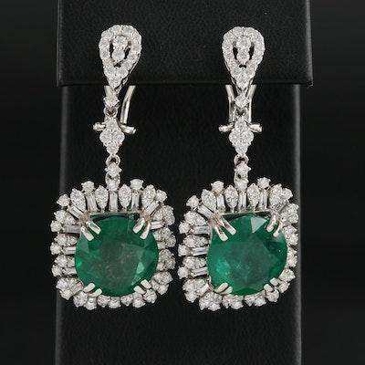 18K White Gold 14.50 CTW Emerald and 3.38 CTW Diamond Dangle Earrings