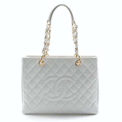 Chanel CC White Quilted Caviar Leather Grand Shopping Tote
