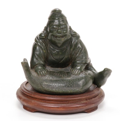 Chinese Carved Stone Seated Figure with Fish